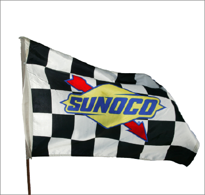 National Association  Stock  Auto Racing Sticker on Sunoco Racing Flag    Checkered Flag Design Featuring The
